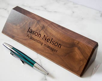 Personalized Wooden Desk Name, Customized Walnut desk name, Executive Personalized Desk Name Plate, wooden office sign