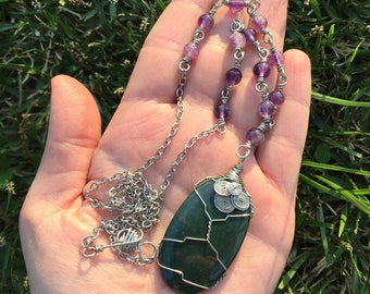 Soul Protector - Bloodstone and Amethyst Crystal Healing Necklace