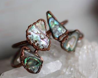Paua shell rings - Paua Shell Jewelry - Shell Jewelry - Organic Shell Jewelry
