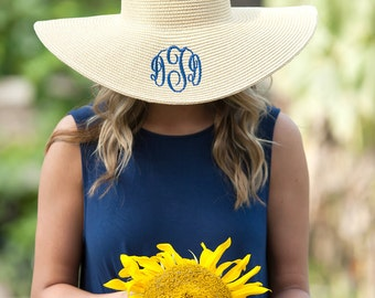 466fb213f82b49 Monogrammed Floppy Hat, Personalized Floppy Hat, Beach Hat, Sun Hat, Monogrammed  Gifts, Bridesmaid Gifts, Gifts for Her