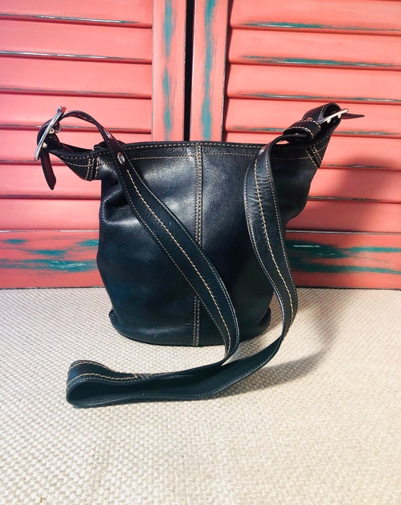 Black COACH Leather Bucket Duffel Purse Bag Crossb