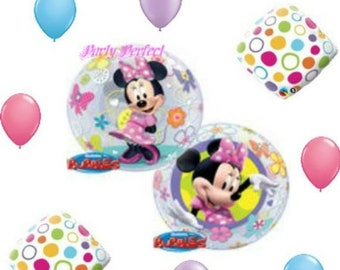 On Sale 9 Piece Disney Minnie Mouse Birthday Party Balloons Etsy