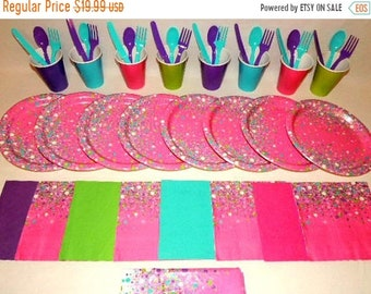 ON SALE Bubbles, Confetti  Place settings for 8 Table Decorations Party Supplies