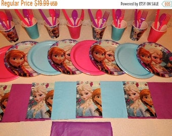 ON SALE Disney Frozen Tableware for 8 People  Party Supplies Elsa Anna Olaf