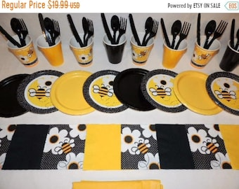 ON SALE Bumble Bee Yellow and Black Place settingsfor 8 People                     Table Decorations Party Supplies