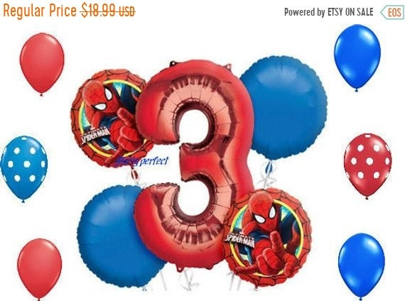 ON SALE Spiderman 1 2 Or 3 Number Birthday Balloon Bouquet