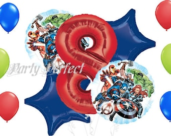 ON SALE  Number 1-9 Avengers Birthday Balloon Bouquet