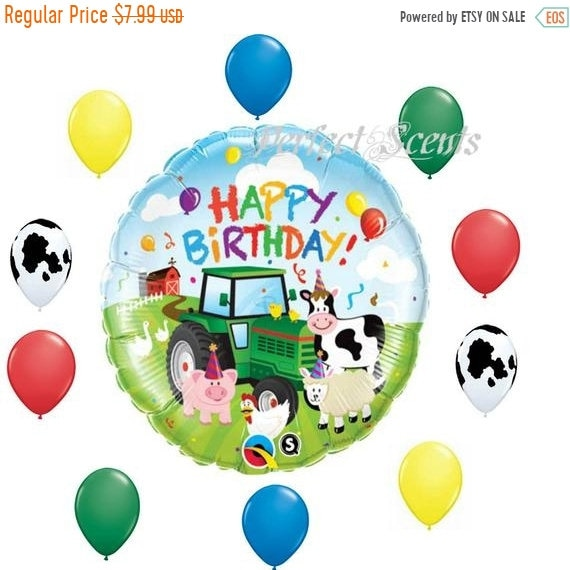 ON SALE 11 Pc Farm Birthday Balloons Bouquet Kit