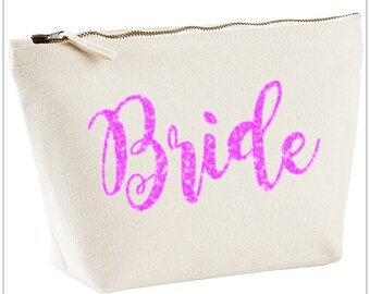 "Glitter ""Bride"" Make up Accessories Bag"
