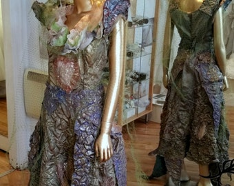 New Handmade Unique Theatrical Costume Dress Cosplay Style Gold Outfit Tree Forest One of Kind LARP Haute Couture Old Gold