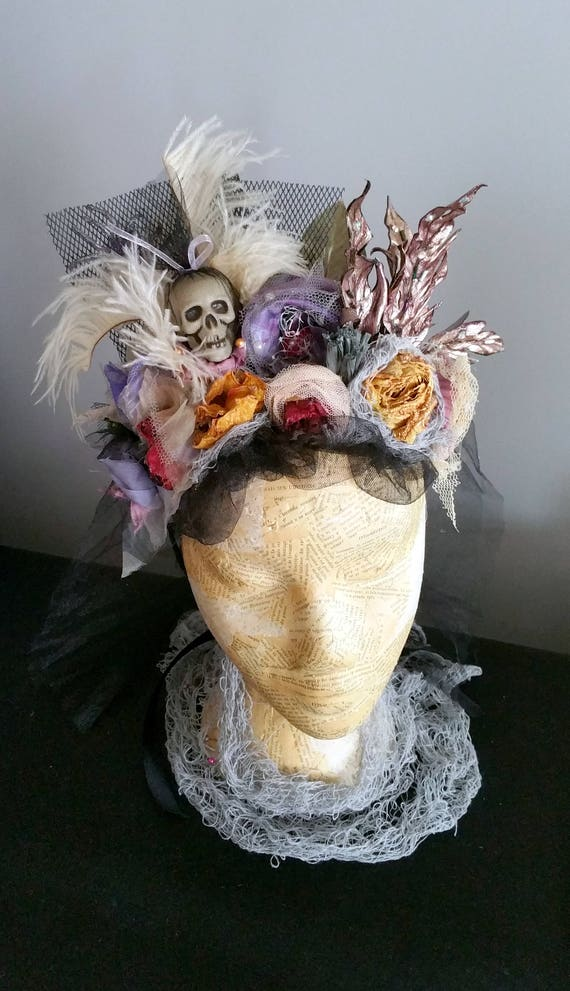 Headdress Tribal Headwear Skull Vintage Gothic Crown Halloween Headband Fantasy Headwear Tiara Sorcery Witchcraft Wizardry