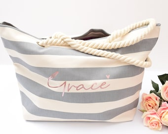 Beach bag, striped tote bag, grey striped canvas tote, tote bags, beach party, beach wedding, personalized bridesmaids gift, hen party gift