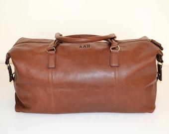 Groomsmen gift Personalized mens travel bag, Monogrammed duffle, Mens weekend Bag, Weekender Bag Leather look, Groomsmen proposal travel bag