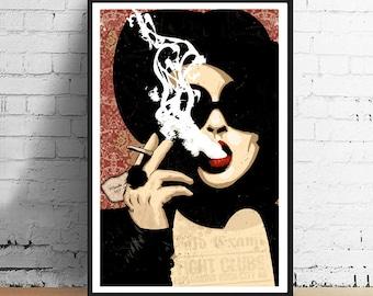 Fight Club - Chuck Palahniuk Inspired Femme Fatale Marla Singer 11 x 17 Art Film Print Poster