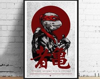 Raphael Ninja Turtle 11 x 17 Art Print - Teenage Mutant Ninja Turtles Alternative Movie Poster