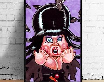 Elvira Mistress of the Dark  4 x 6 Giclee Art Print by Garbage Pail Kids Artist Victor Moreno
