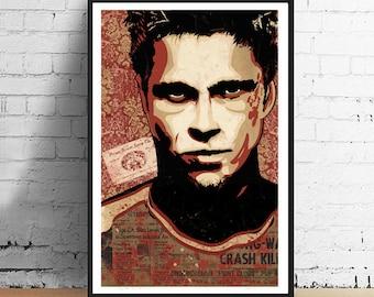 Fight Club - Chuck Palahniuk Inspired Tyler 11 x 17 Film Print Underground Art Print Poster