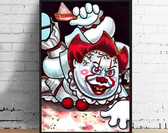 Stephen King's It Pennywise 4 x 6 Giclee Art Print by Garbage Pail Kids Artist Victor Moreno