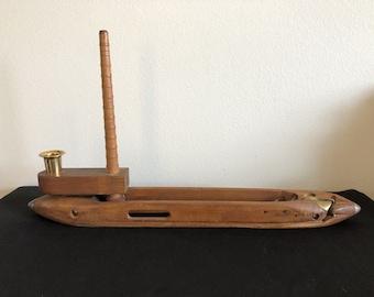Elegant Antique Weavers Shuttle With Spindle 20in Boat, Vintage Weavers Shuttle, EUC
