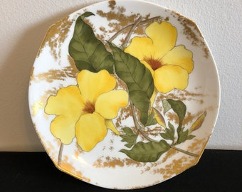 Vintage Hand Painted Gold White and Yellow Daffodil Plate, Antique Daffodil Plate, Decorative Plate