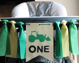 Tractor Highchair Birthday Banner, Western Birthday, Cowboy Banner, Farmer Birthday Banner, Tractor Photo Prop, One High Chair Banner