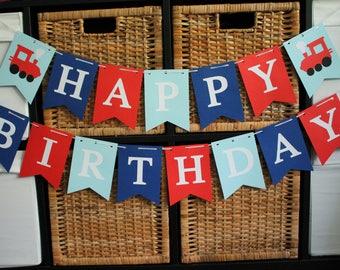 Train Birthday Banner, Happy Birthday banner, Boy Birthday Banner, Train Birthday Party, Train Birthday Age, Vintage Train Banner, Train