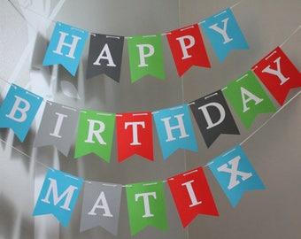 Construction Birthday Banner, Happy Birthday banner, Personalized Happy Birthday Banner, Custom Birthday Banner, Blue Gray Banner