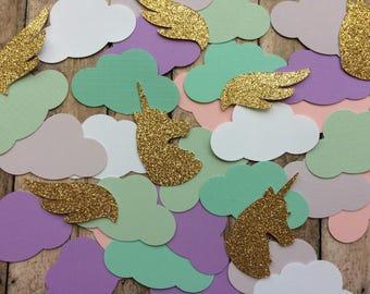 Unicorn Confetti, Unicorn Birthday, Unicorn Birthday Party, Rainbow Birthday, Unicorn Decoration, Gold Unicorn, Cloud Confetti