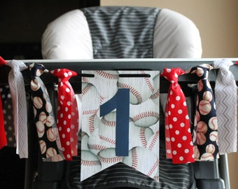 Baseball Highchair Birthday Banner, Baseball Birthday Banner, Baseball Birthday Age, Vintage Baseball Banner, Baseball Party