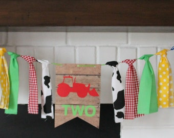 Primary Colors, Red Tractor Birthday Banner, Western Birthday, Cowboy Banner, Farmer Birthday Banner, One High Chair Banner