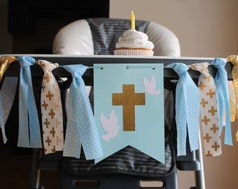 Baptism Highchair Banner, Cross Banner, Blue Gold Baptism Banner, Christening Decoration, Boy Baptism, Blue Gold Baptism