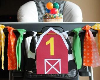 Farm Highchair Birthday Banner, Western Birthday, Barn Highchair Banner, One Birthday Banner, Cowboy Photo Prop, Barnyard Birthday Party