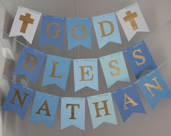 God Bless Banner, Baptism Banner, Blue Gold Baptism Banner, First Communion Banner, Christening Banner, Custom Name Baptism Sign, Blue Gold