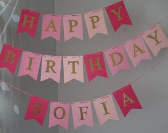 Pink Gold Birthday Banner, Happy Birthday Banner, Pink Gold Birthday Banner, Girl Banner, Pink Gold 1st Birthday, Happy Birthday