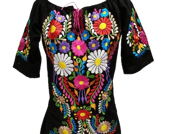 ae342c34e49a Mexican dress cotton peasant boho Oaxaca festival authentic mexico dress  ethnic clothing fits Small to medium U59