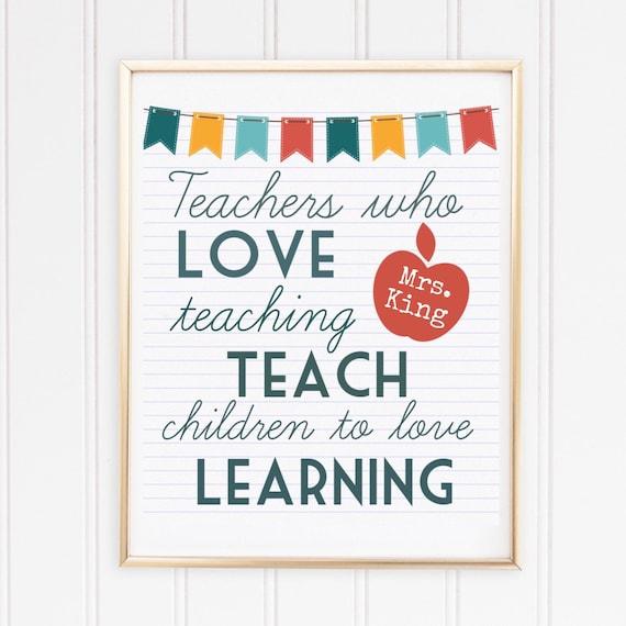 Teacher Gift Custom Teacher Print Quotes For Teachers Personalized Teacher Sign Teacher Christmas Gift Art Print For Classroom