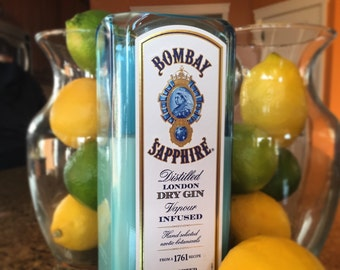 Recycled Bombay Sapphire Gin bottle candle