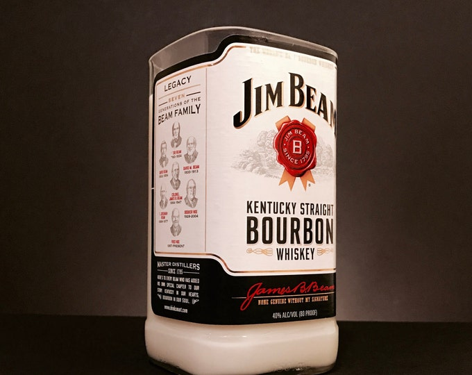 Recycled Jim Beam Bourbon Whiskey Bottle Candle