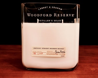 Recycled Woodford Reserve Bourbon Whiskey Bottle Candle