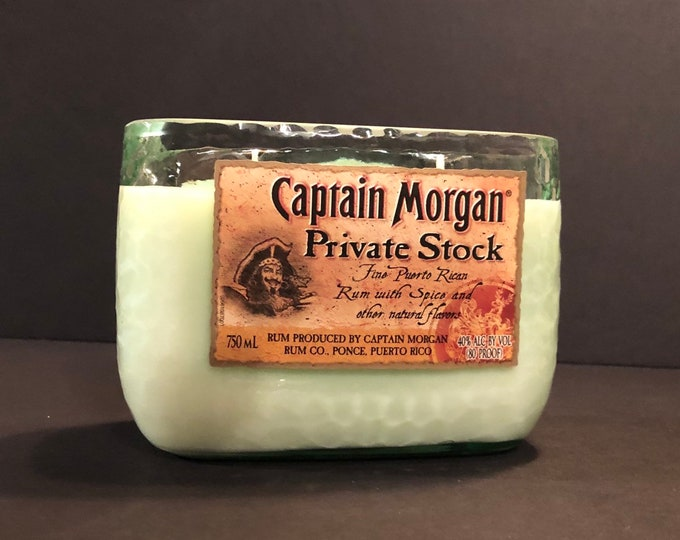 Captain Morgan Private Stock Rum Bottle Candle w/ Pineapple Sage Scent