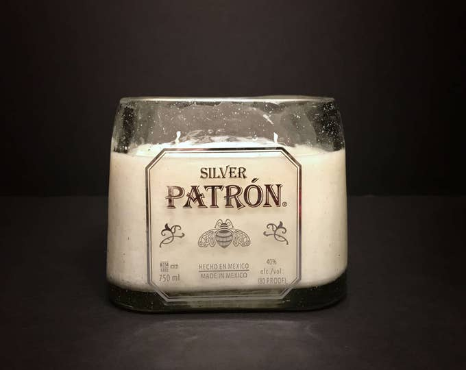 Recycled Patron Silver Tequila Bottle Candle