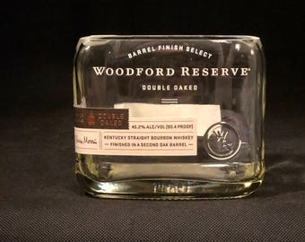 Recycled Woodford Reserve Double Oaked Bourbon Whiskey Bottle Candle