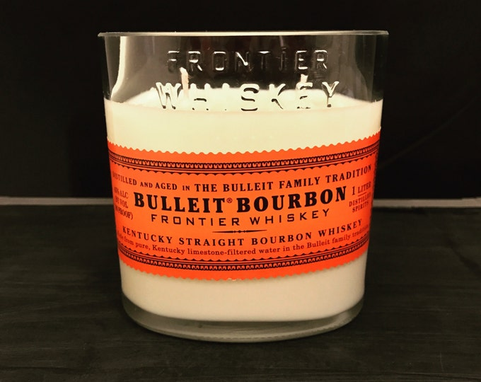 Recycled Bulleit Bourbon Whiskey Bottle Candle