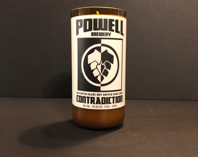 Powell Brewery Beer Bottle Candle w/ Vanilla Scent