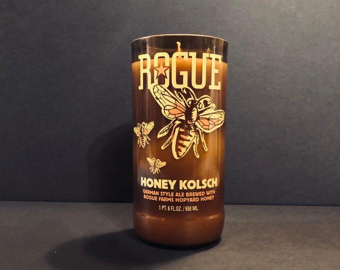 Rogue Honey Kolsch Bottle Candle w/ Mountain Honey Scent