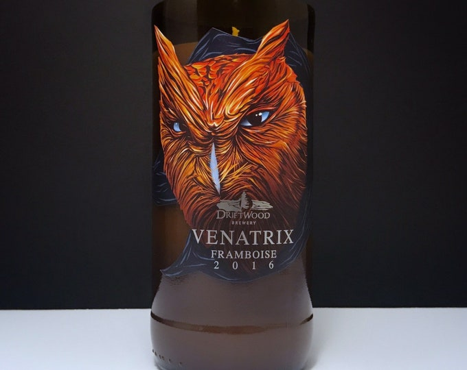 Driftwood Brewery Venatrix Framboise Bottle Candle w/ Cucumber and Melon Scent