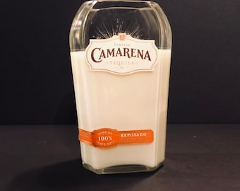 Camarena Reposado Tequila Bottle Candle w/ Teakwood Scent and Wood Wick