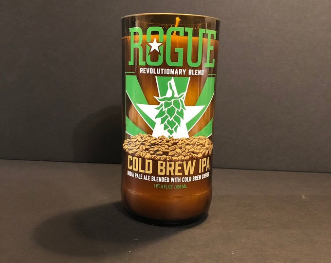 Rogue Cold Brew IPA Beer Bottle Candle w/ Mulled Cider and Chestnut Scent