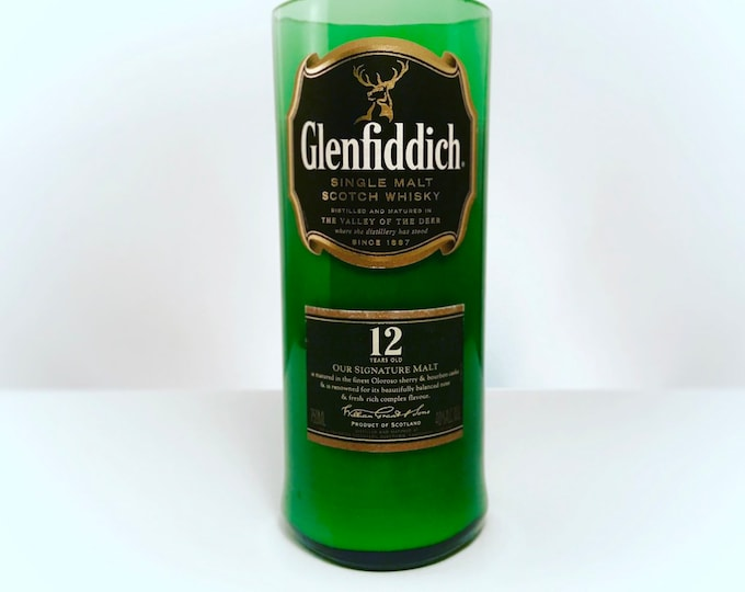 Recycled Glenfiddich 12 Scotch Whisky Bottle Candle