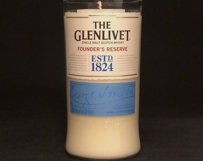 Recycled Glenlivet Founder's Reserve Scotch Whisky Bottle Candle